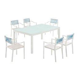 Set masa si 6 scaune cu brate, Colectia Hyacinth