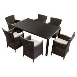 Set mobilier gradina Kring Thomas, masa, 6 scaune, Maro/Maro