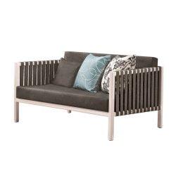 Canapea de exterior Garnet, alba cu perne gri