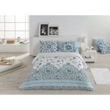 Lenjerie de pat Kring, pentru 2 persoane, bumbac, Amila Azul Stripes
