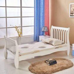 PAA103 - Pat alb pentru o persoana, dormitor - 90 x 190 cm