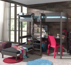 Pat etajat din lemn de pin si MDF Pino Desk II