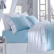 Lenjerie de pat cu cearșaf din bumbac satinat Satin Blue