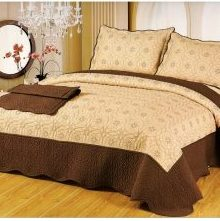 Set cuvertura pentru pat dublu cu 2 fete de perna 50x70 cm, bumbac, bicolore