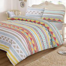 Lenjerie de pat pentru 2 persoane Ted, 100% bumbac satinat, 200 x 220 cm, Ethno Stripes