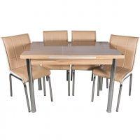 Set masa extensibila maro 110x70 cu 4 scaune Pedli